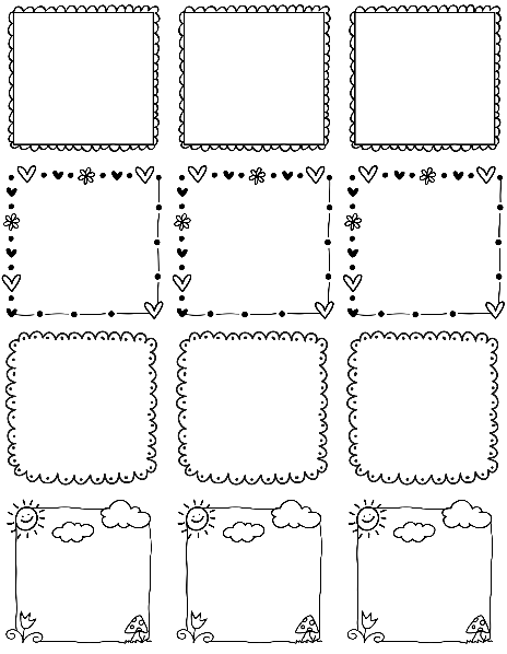 Printable Doodle Borders Labels By InkTreePress