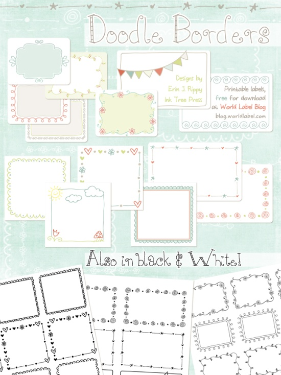 Printable Doodle Borders Labels by InkTreePress – Shipping Labels Template Free