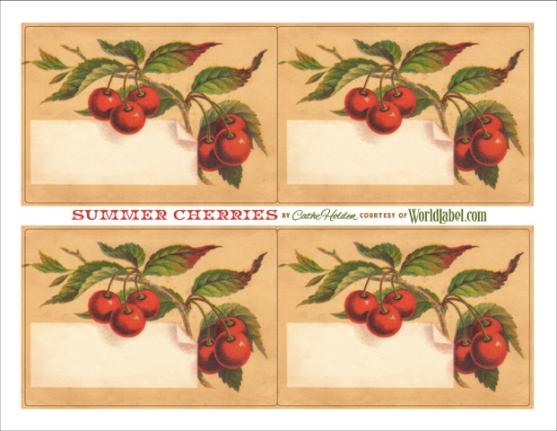 vintage cherry favor labels by cathe holden