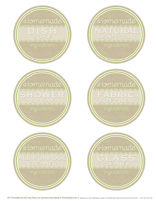 DIY homemade clean free label printables and recipes – Ingredients Label Template