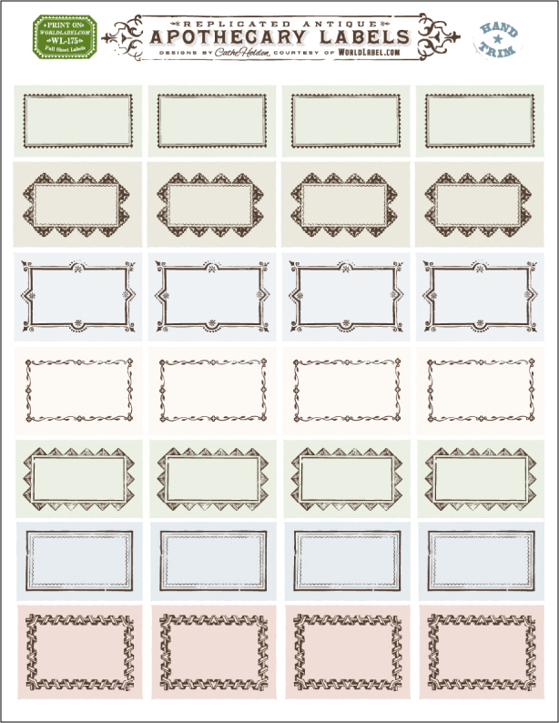 Ornate apothecary blank labels by cathe holden for Free online address label templates