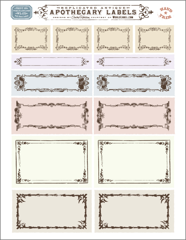 Ornate apothecary blank labels by cathe holden for Post it labels templates