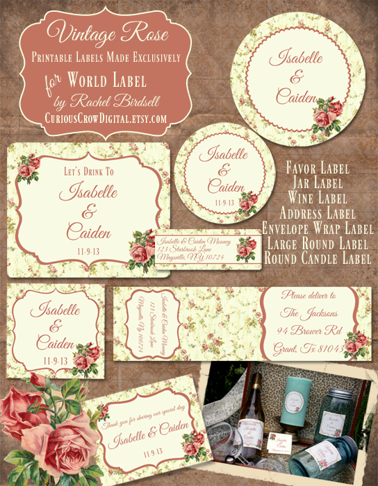 image relating to Free Vintage Printable called Cost-free Typical Rose Label Printables as a result of Rachel Birdsell Free of charge