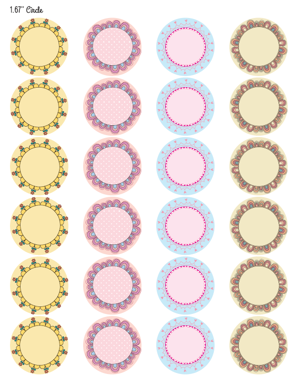 Delicate image inside round printable labels
