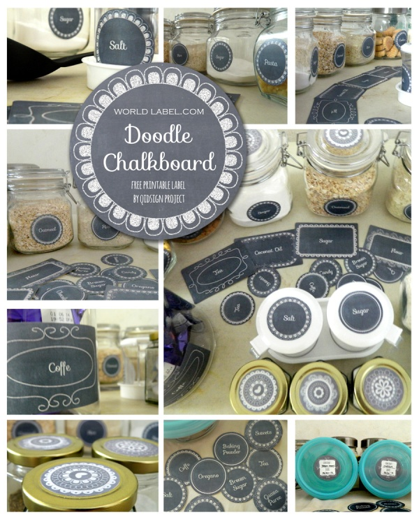 photograph about Free Printable Chalkboard Labels referred to as Doodle Chalkboard Pantry Adaptable Labels Totally free