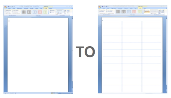 Showing Gridlines in a MS Word Label Template – Blank Label Template