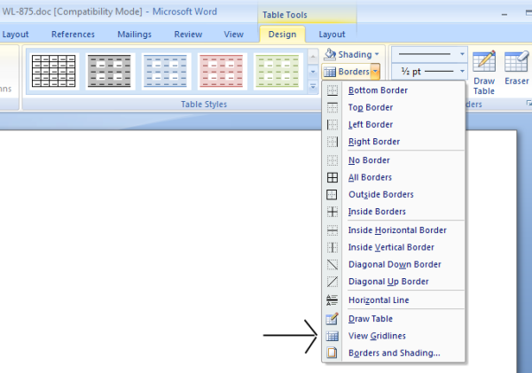 Microsoft Word Gridlines  Labels Word Template