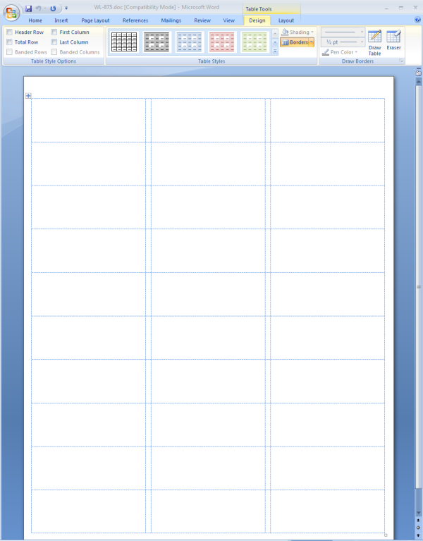 showing gridlines in a ms word label template worldlabel blog