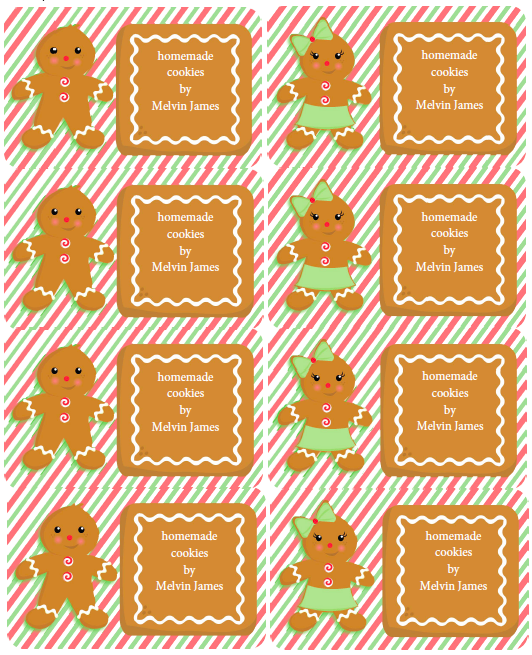 gingerbread party kit and labels