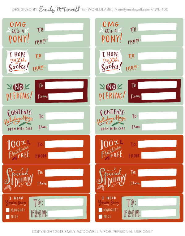 Hand Illustrated Holiday Labels By Emily Mcdowell Worldlabel Blog