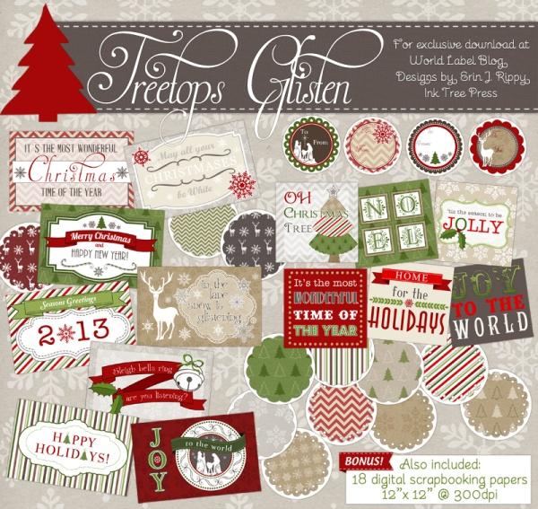 Treetop Glisten Free Christmas Labels Digital Scrapbooking Papers