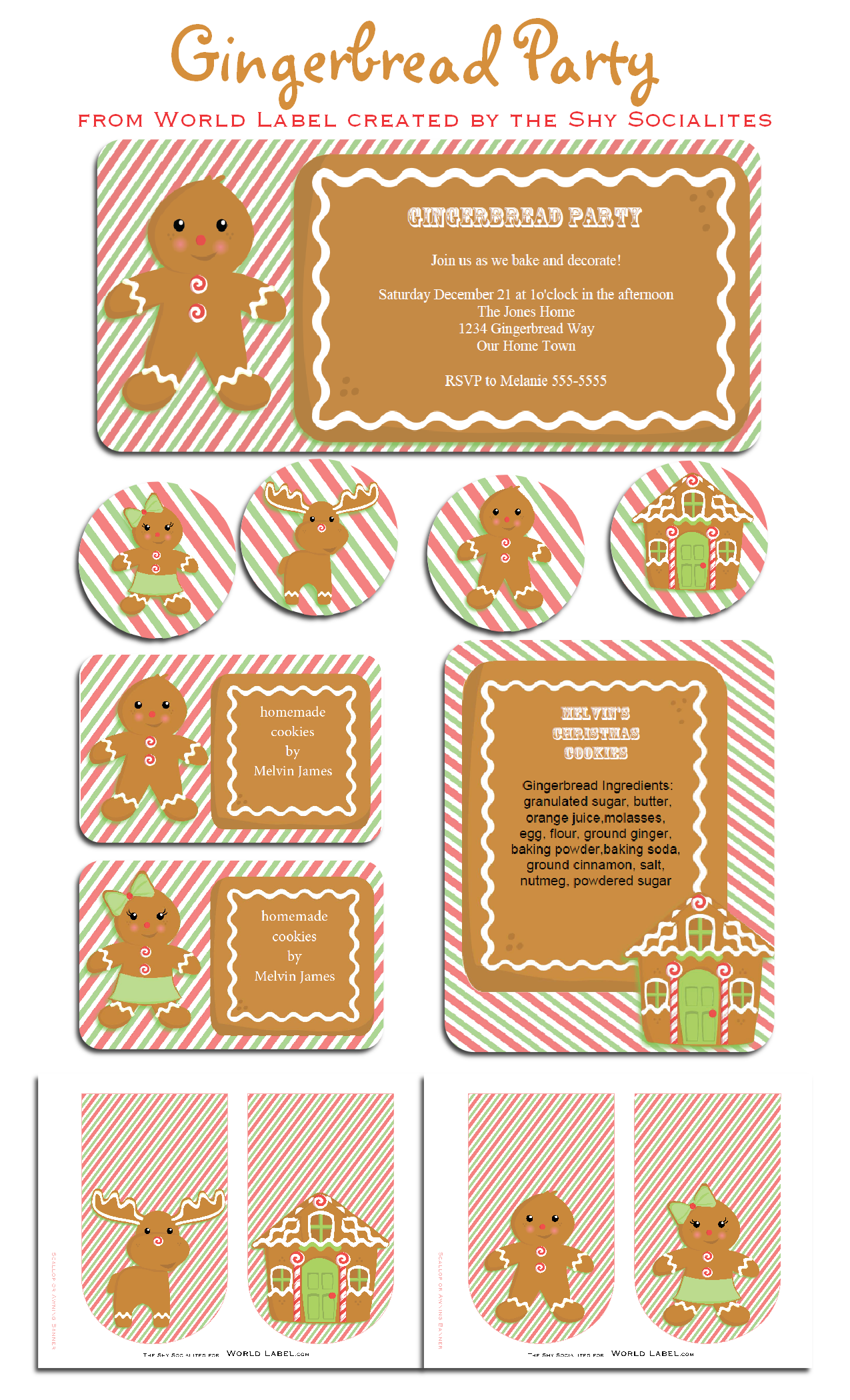 Gingerbread Party Kit and Labels :) | Worldlabel Blog