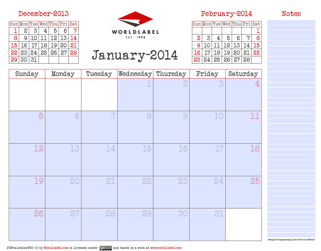 Blank 2014 editable fillable pdf calendar pro worldlabel for Fillable calendar template 2014