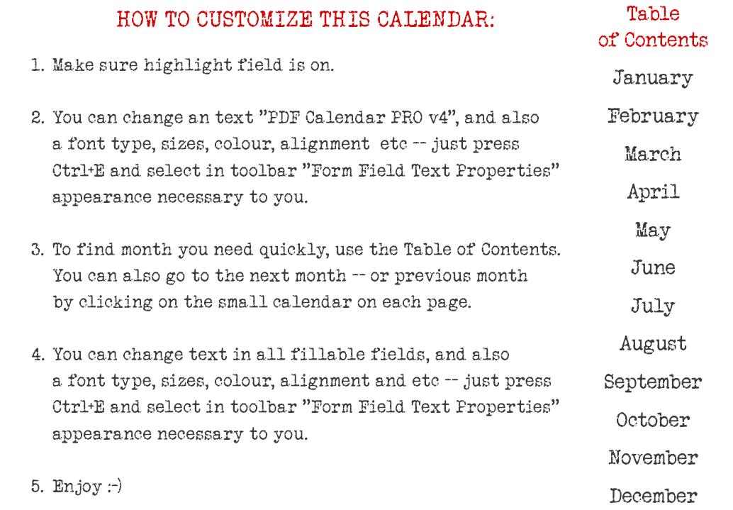 blank 2014 editable fillable pdf calendar pro