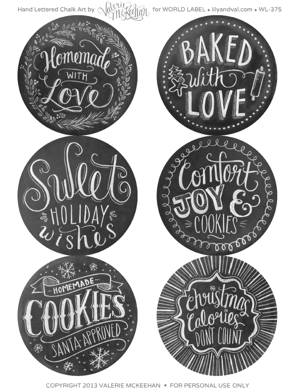 stickers effetto lavagna : Holiday Chalkboard Labels BY Lilyandval.com Worldlabel Blog