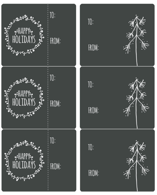 Holiday labels hand drawn