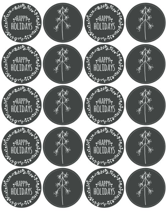 free holiday labels chalkboard
