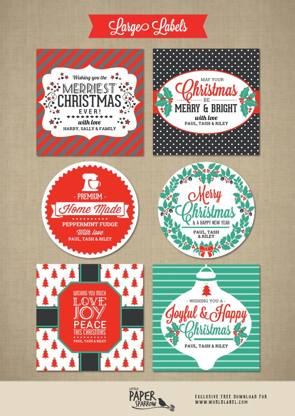 Merry Christmas Labels by Little Paper Sparrow ...