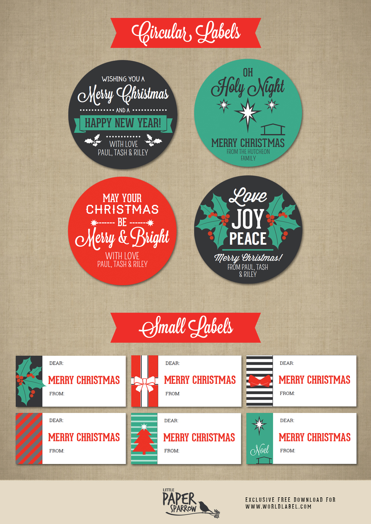 Merry Christmas Labels by Little Paper Sparrow | Worldlabel Blog