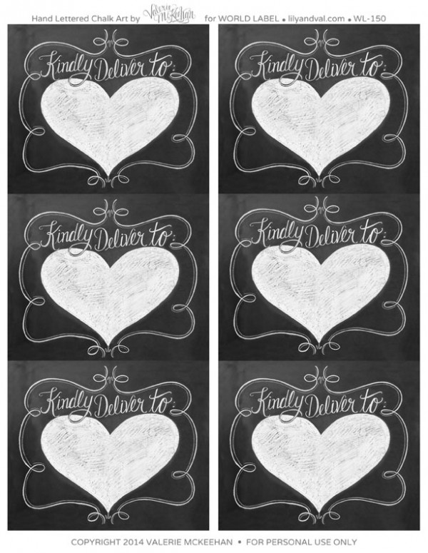 Hand lettered Chalk Art Valentine's Day Labels ...