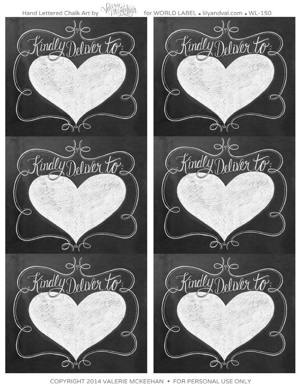 187f5f07dab8 Hand lettered Chalk Art Valentine s Day Labels   Worldlabel Blog