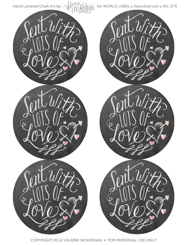 Hand Lettered Chalk Art Valentine S Day Labels