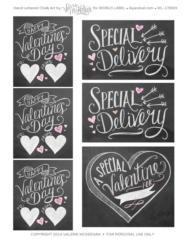 Hand Lettered Chalk Art ValentineS Day Labels  Worldlabel Blog