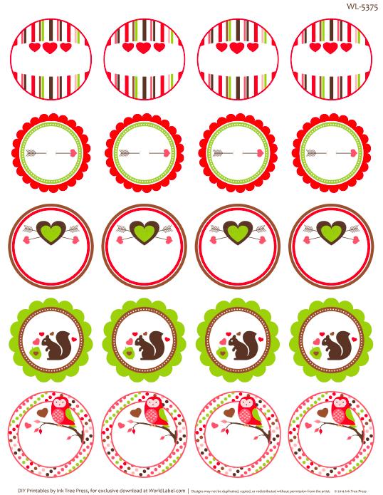 Round valentines labels
