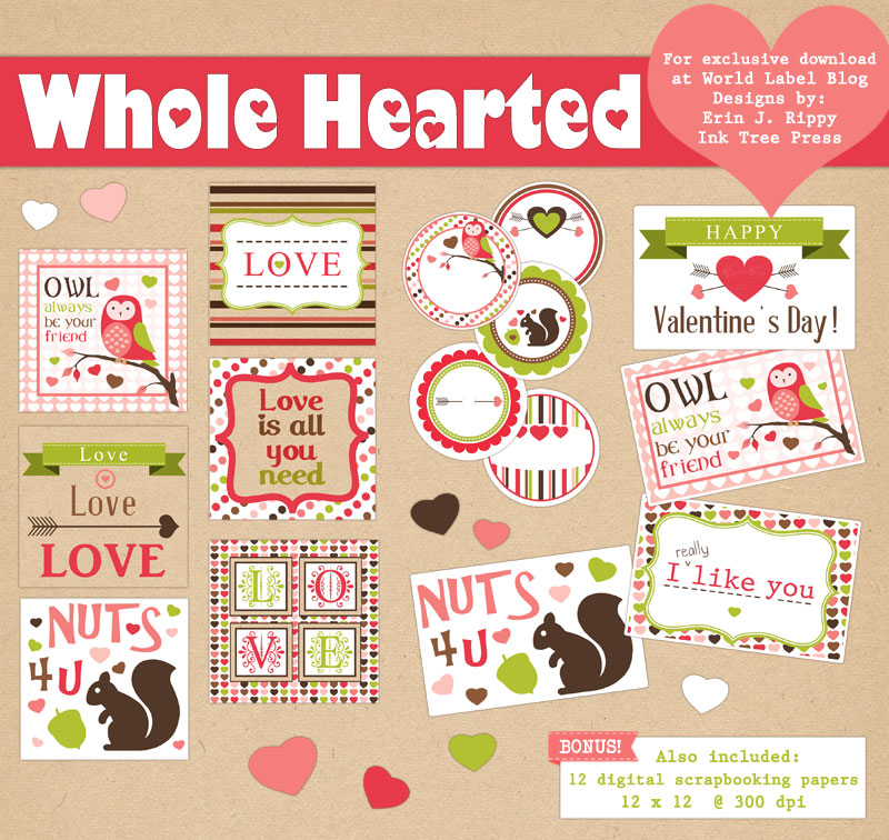 Whole Hearted Valentines Day Printable Labels  Worldlabel Blog