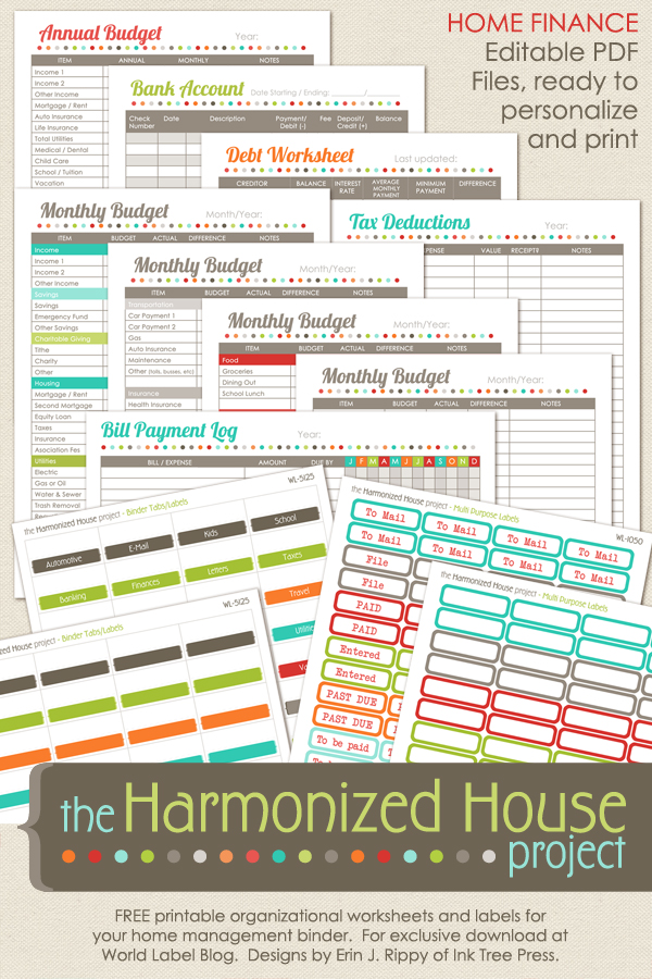 photo regarding Free Printable Home Organization Worksheets known as Residence Finance Printables: The Harmonized Residence Challenge Free of charge