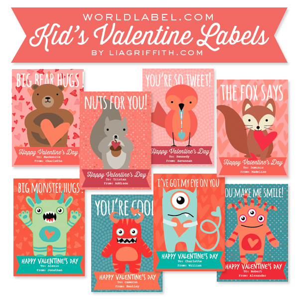 Kids Valentines Day Labels By Lia Griffith  Worldlabel Blog