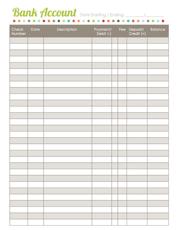 Printables Blank Check Register Worksheet home finance printables the harmonized house project worldlabel worksheet budget bank register