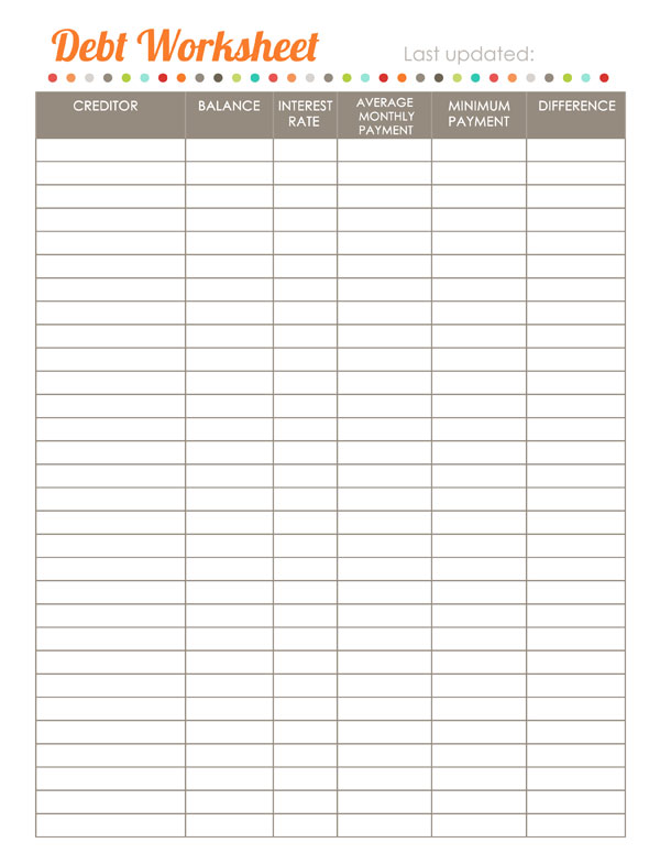 Worksheets Debt Worksheets home finance printables the harmonized house project worldlabel worksheet budget debt