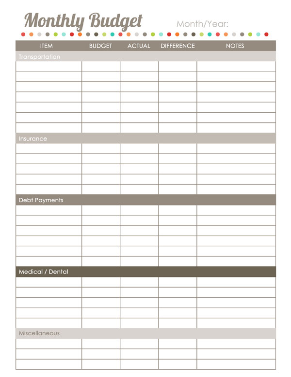 Home finance printables the harmonized house project for Monthly bill spreadsheet template free