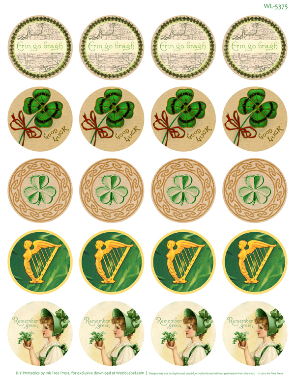 round stickers for st patty