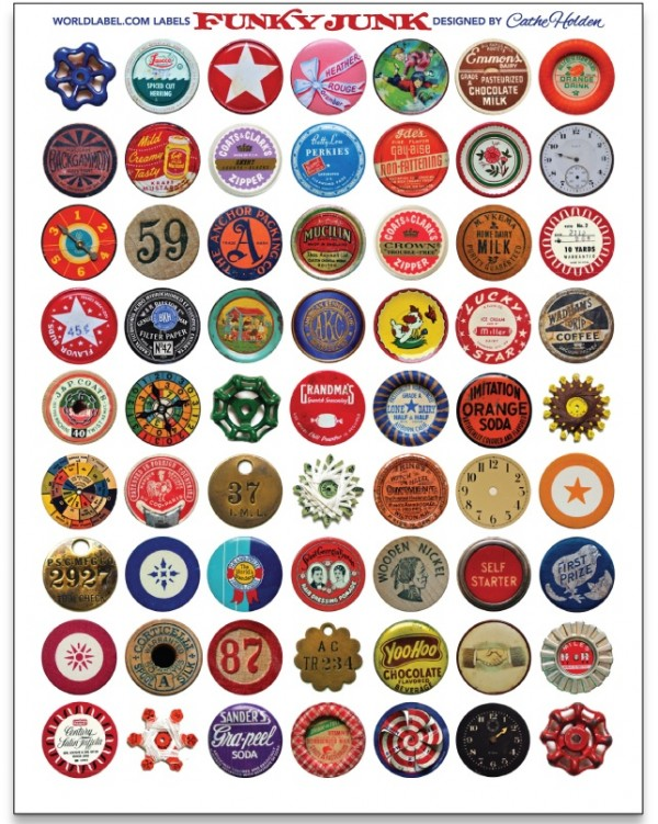 funky Junk round vintage labels