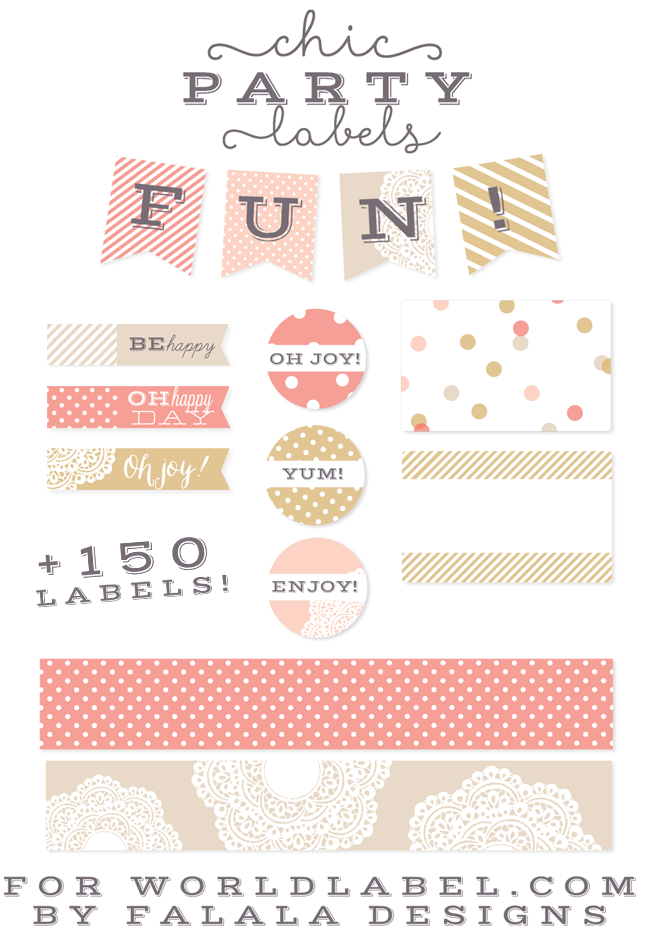 Chic Party Label Printables by Falala Designs | Worldlabel ...