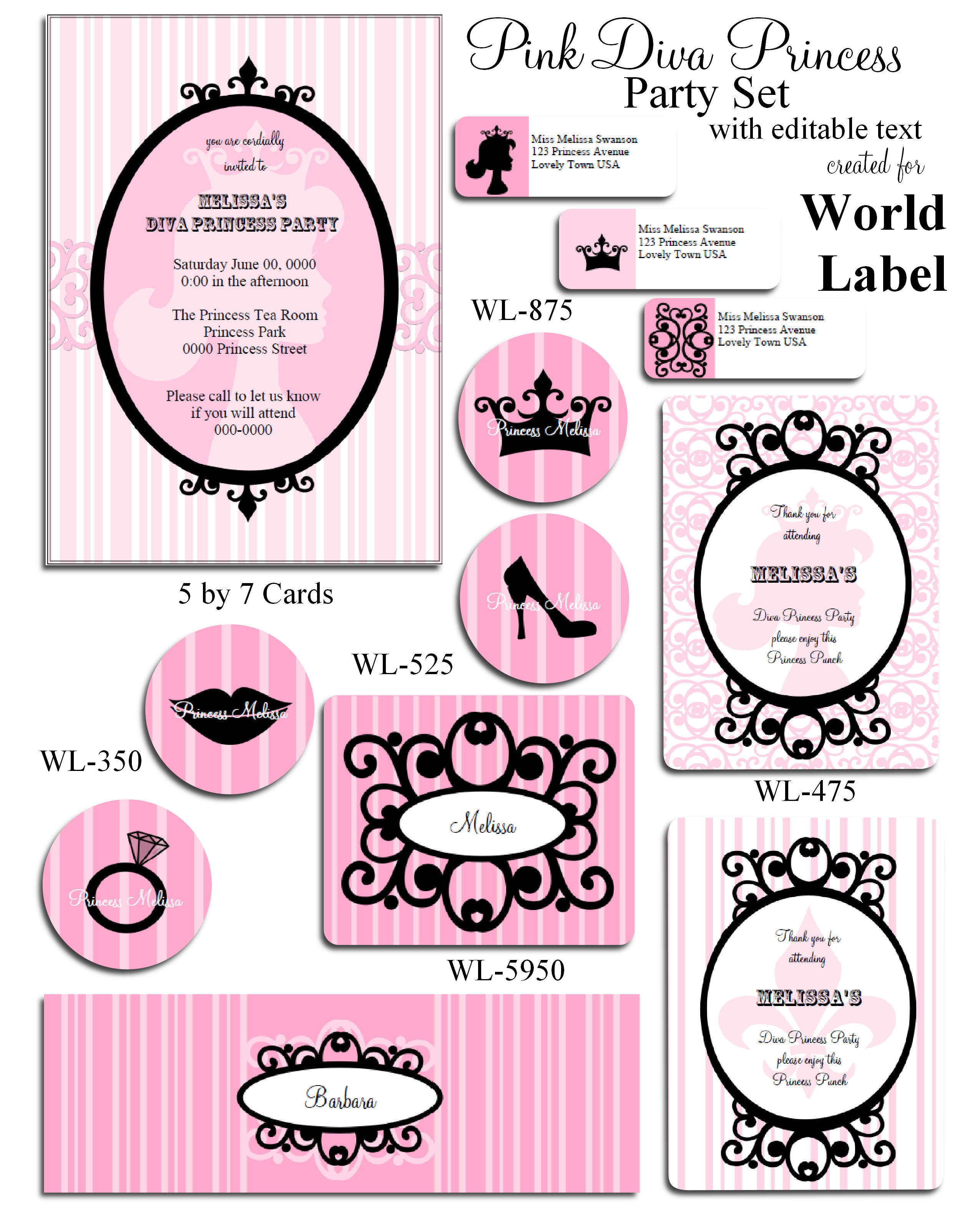 Pink Diva Princess Party Printable Set Worldlabel Blog