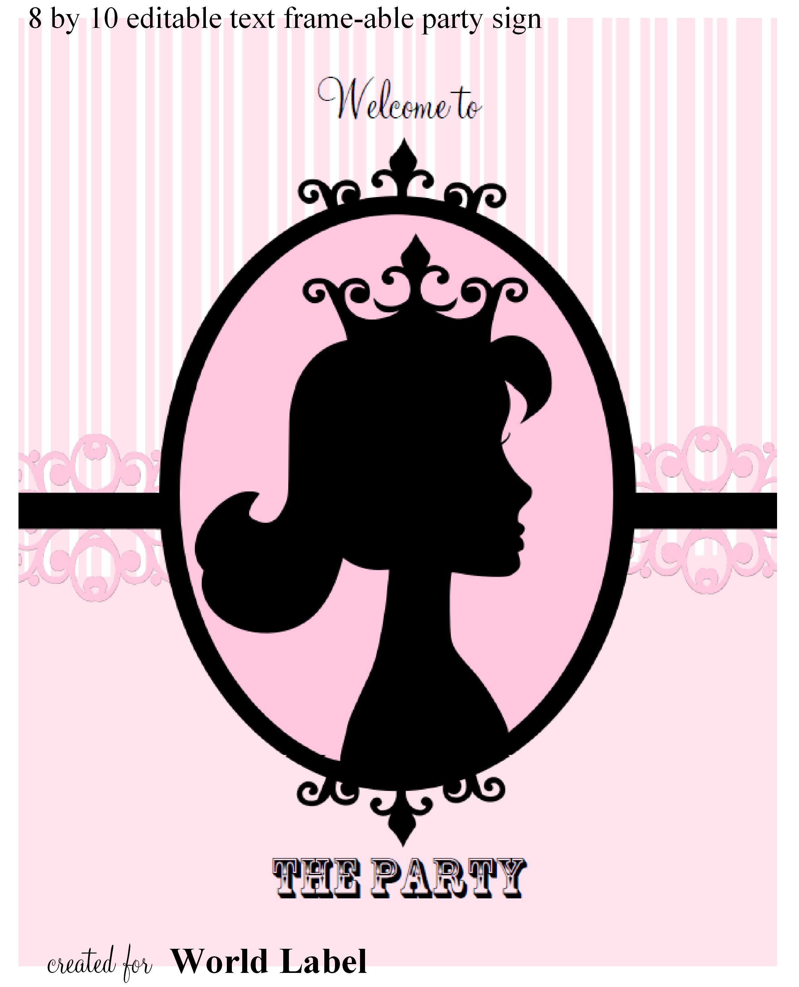 Free printable labels & templates, label design @WorldLabel blog!Pink Diva Princess Party Printable Set