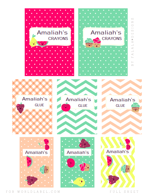 back to school full-sheet labels