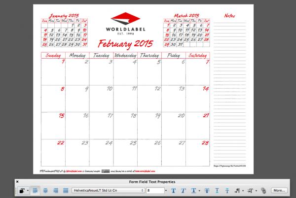 2015 editable calendar
