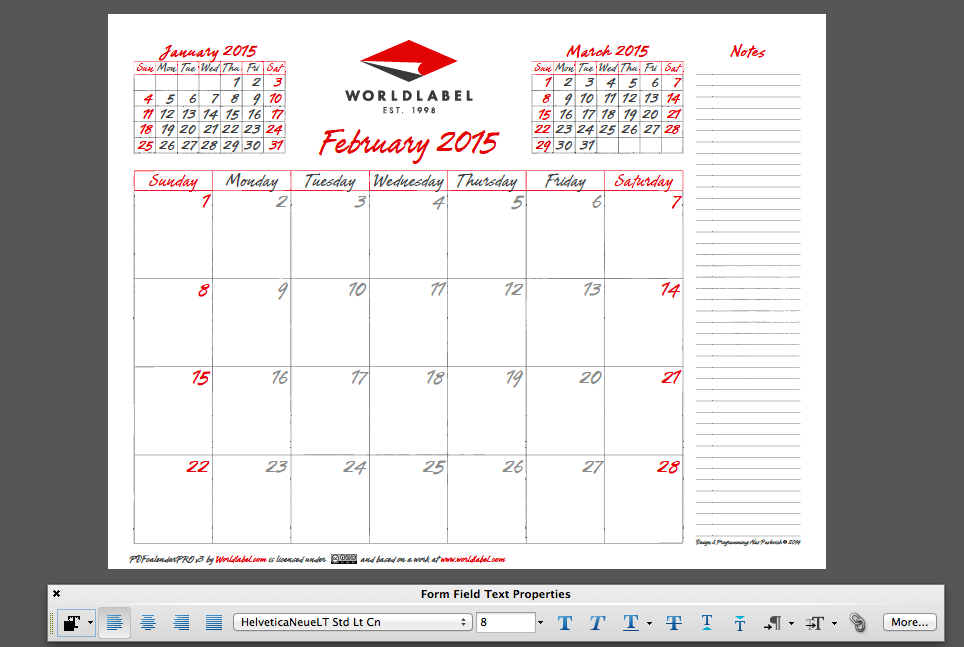 2015 editable fillable pdf calendar template from