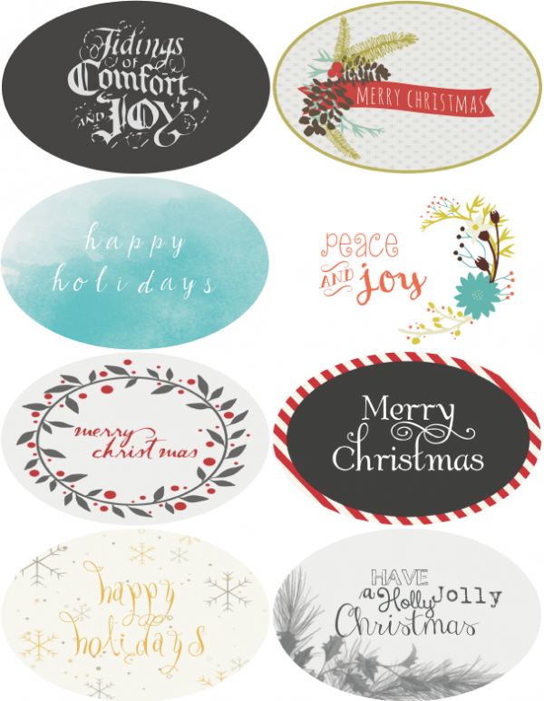 christmas  u0026 holiday assorted circle and oval labels