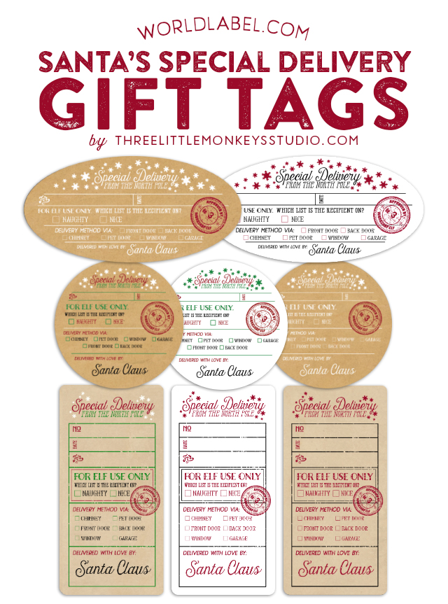 Santas special delivery gift label tags worldlabel blog christmas gift labels negle Images
