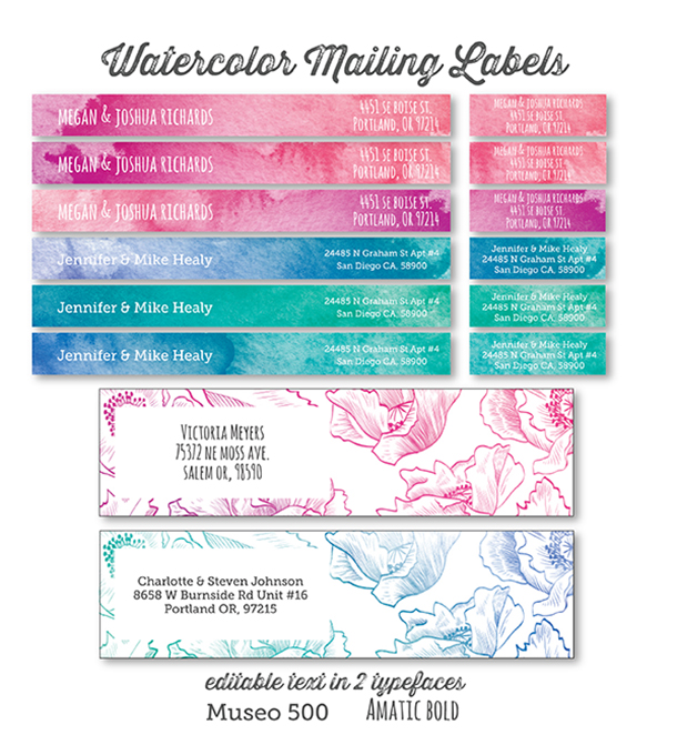 printable address labels in a watercolor and floral design