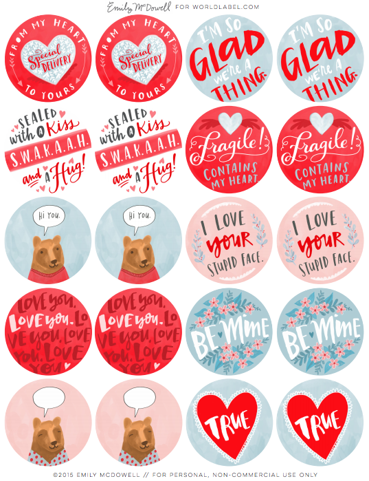 Valentines Day Labels by Emily McDowell – Valentine Day Label