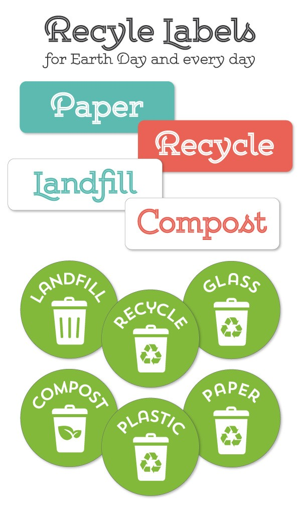 image regarding Recycle Labels Printable known as Recycle Labels for your Household Place of work Recycling Centre Absolutely free