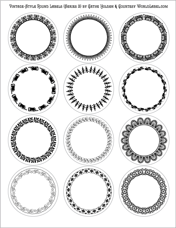 Vintage style round labels by cathe holden series 2 for Avery 2 round label template