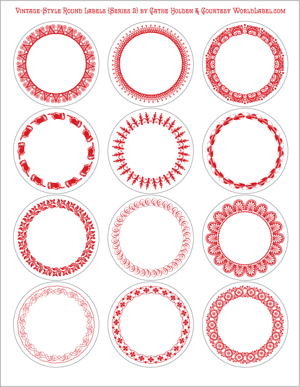 Vintage-Style Round Labels by Cathe Holden (Series 2) | Worldlabel ...