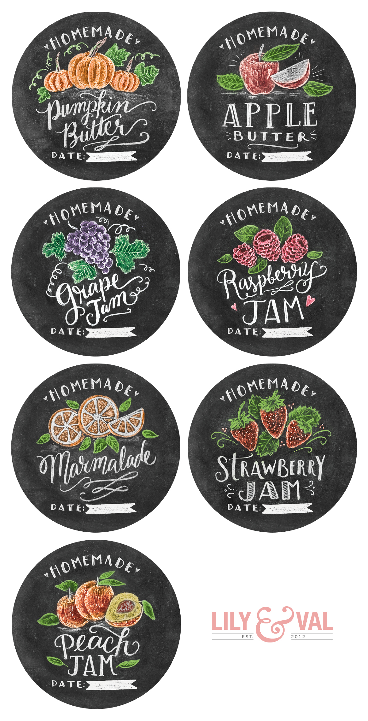 Chalk Art Jam Labels Hand-Drawn by Valerie McKeehan